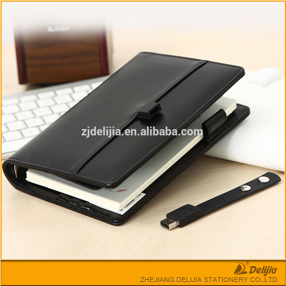 Professional manufacture leather cover business loose leaf usb and notebook
