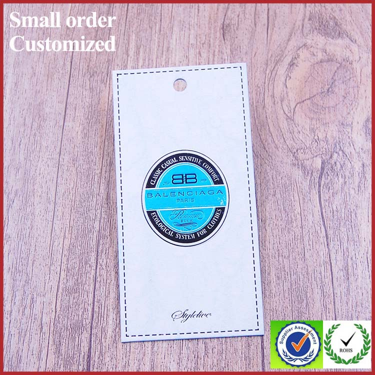 Design perforated paper hang tags labels for clothing socks shoe