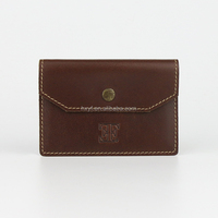 Vintage Flap Dark Brown Cowhide Leather Credit Card Wallet