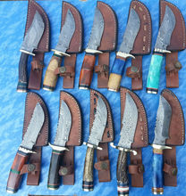 Custom Hand Made Damascus Blade Hunting Knife Set