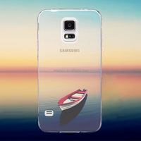 Creative custom phone Case For Samsung S6 edge Case Ultra Thin Soft Silicon Transparent River Boat view cases for Phone CEUVP