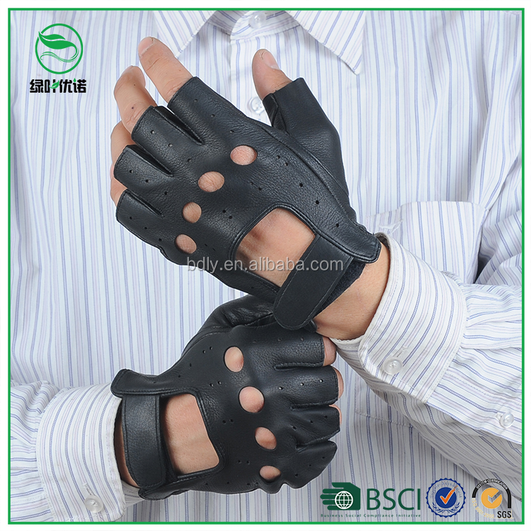 Cut Finger Men's Leather Driving Gloves with Hook Loop Closure