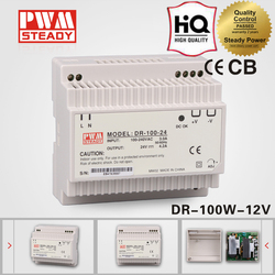 DR-100-12 ac dc 220 to 12v switched led power supply 120w 12v 8.3a Din Rail Switching Power Supply