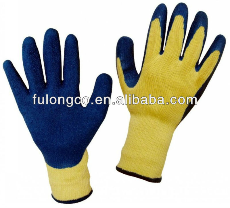 10-pin luminous yellow yarn blue latex and a half dip gloves