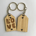 custom bamboo Wedding Decoration & Gift Use and Love wood Keychain keyring