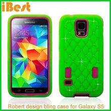 2014 new products full start bing bling diamond shinning combo case for samsung galaxy S5 I9600,fancy cell phone covers
