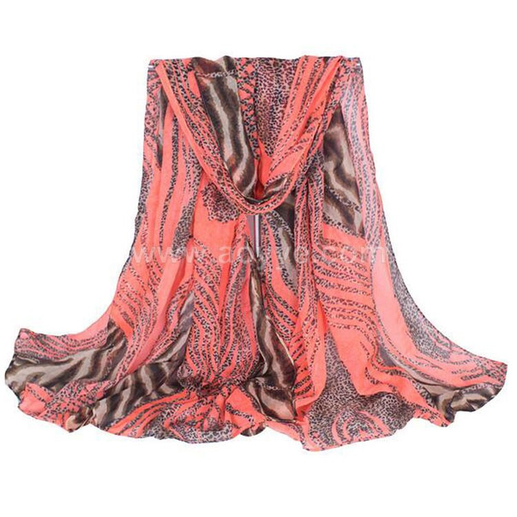 Scarf manufacturer direct selling orange voile leopard print silk scarf
