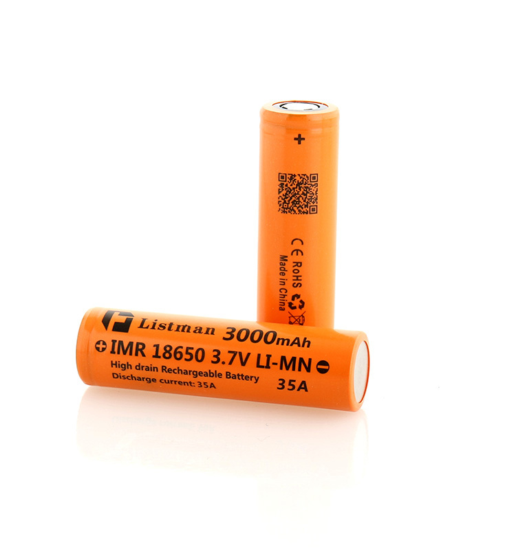 Listman battery 3.7v rechargeable battery factory price 35A 3000mah 18650 rechargeable battery for ecigs and box mods