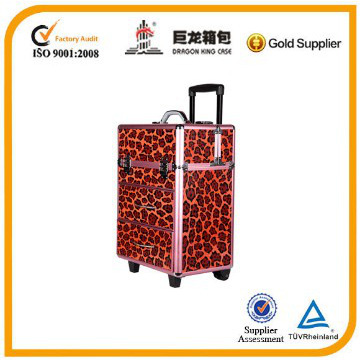 Professional Rolling Makeup Case Mutifunctional Aluminum Trolley Cosmetic Case With 360 Degree Wheel