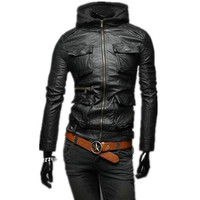 Wholesale high quality winter thick PU leather coat clothing long sleeve with hat leather jacket men