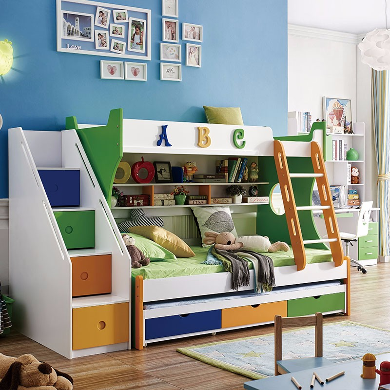 Kids Children Furniture Children Bed With Stair And Pull