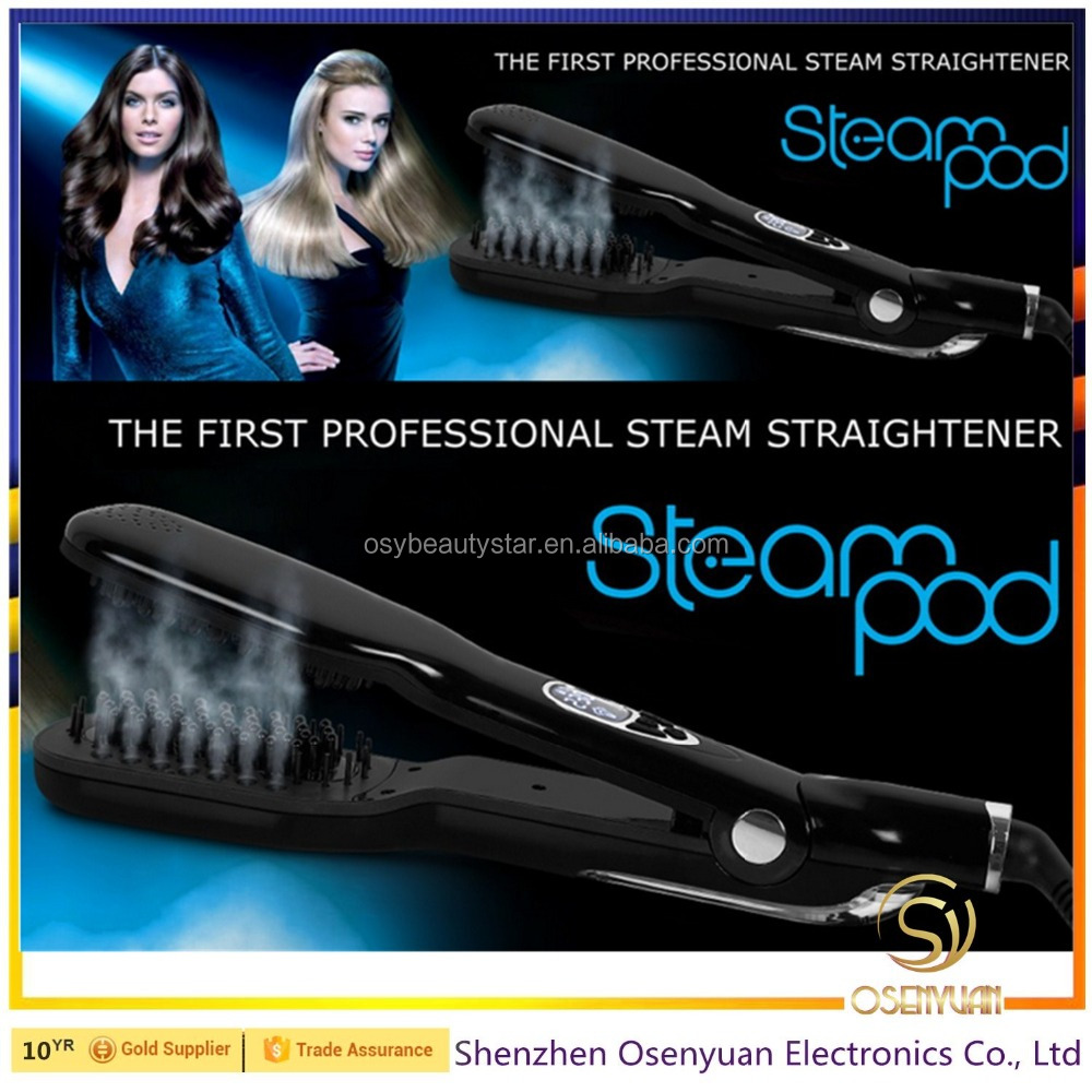 2016hot Steam Comb Straightening Hair Irons Automatic Straight Hair Brush With LCD Display steam pod Electric Hair Straightener