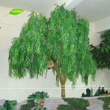 GNW BTR016 Artificial Weeping Plastic Green Leaves Tree with Curly Willow branches for garden decoration