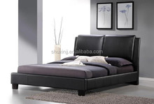 Black Modern Bed with Overstuffed Headboard