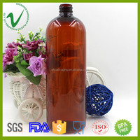 PET amber boston round chemical plastic containers for liquids with screw cap