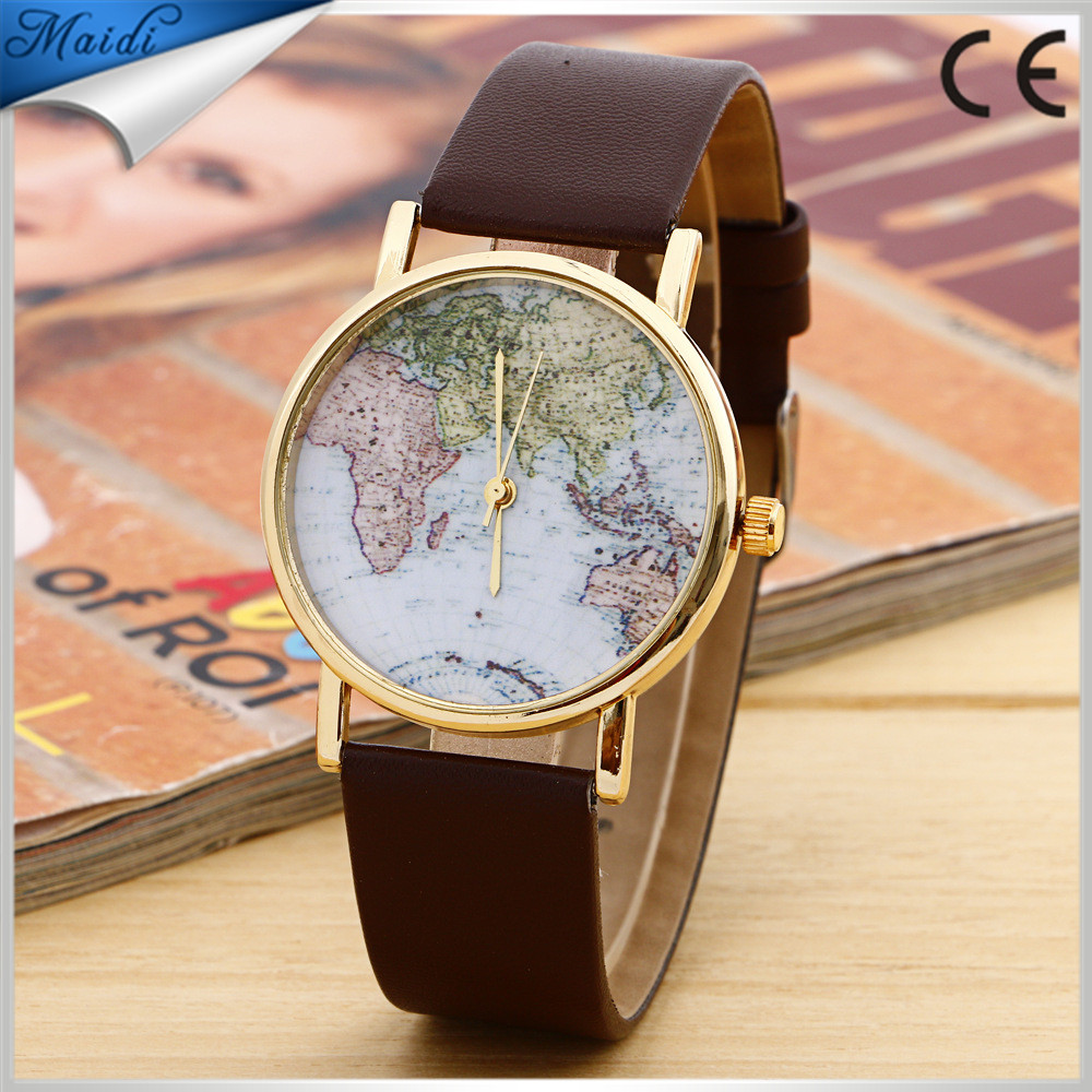 Fashion Casual World Map watches Women Retro Vintage Quartz ladies Wrist watches Navigation Leather Women Dress Watch LW054