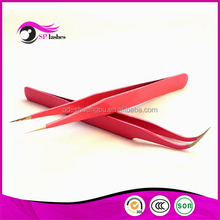 PINK COLOR Straight Tweezers for Eyelash Extensions and Eyebrow Extensions Curved Tweezers ST-12 Stainless Steel Tweezers