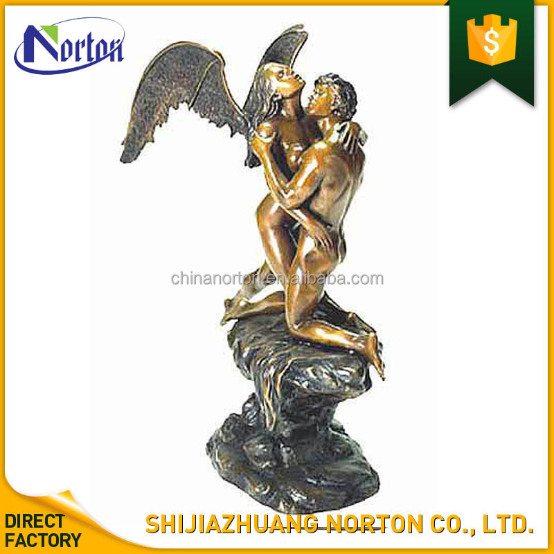 winged lady embracing naked man bronze sculpture for outdoor NT--BS147J