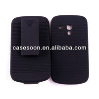 RUBBERIZED BELT CLIP HOLSTER CASE SKIN STAND SAMSUNG GALAXY S3 III MINI GT-I8190