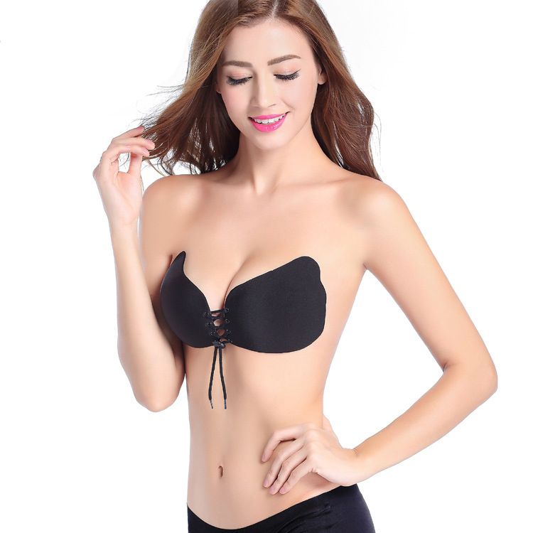 Sexy Adhesive Push Up Butterfly Wing Strapless Backless Breath Invisible Silicone Bra