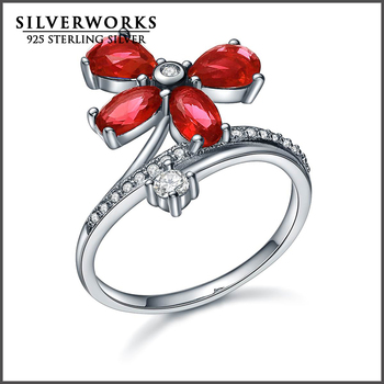 Factory Wholesale Ruby stone rings 925 Sterling Silver Ring with 4 ruby Cubic zircon