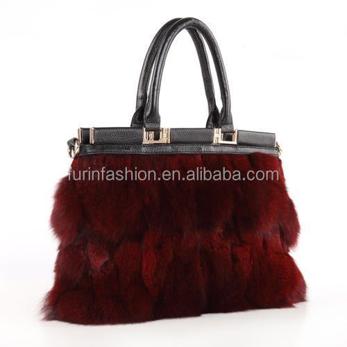 New Design Real Fashionable Women's Cow Leather Shoulder Bag/Fox Fur Bag with Cheap Price Fur Bag