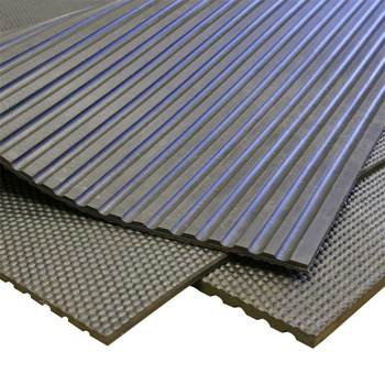 Anti-slip broad corrugated ribbed rubber sheet mat roll manufacture