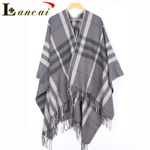 Hot newest wholesale lady custom plaid woven cashmere shawl poncho