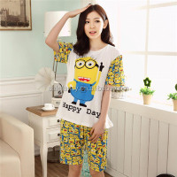 wholesale summer cotton despicable me minion pajamas sleepwear QSAO-1530