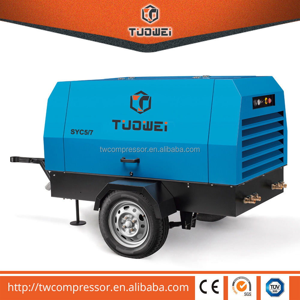 heavy duty hot sale portable diesel mobile air compressor 200 cfm air compressor