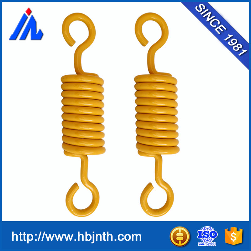 High strong tension Double rings painting coated extension spring with hooks