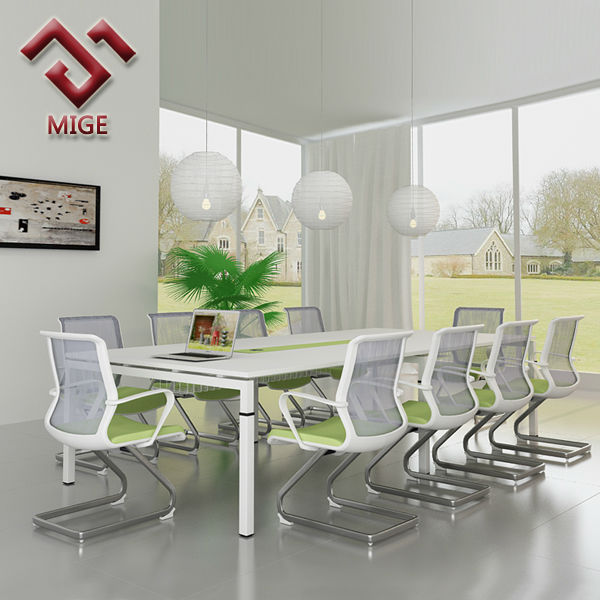 Height Adjustable White Wood Conference Table for 8 people