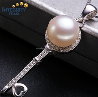 top sale 10 mm AAA button natural freshwater key shape pearl pendant