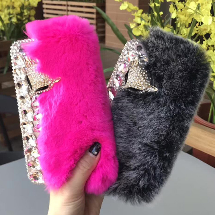 Luxury Rhinestone Diamond Phone Case for iPhone 6 6plus 7 7plus 8 8plus X Cellphone Fur Covers