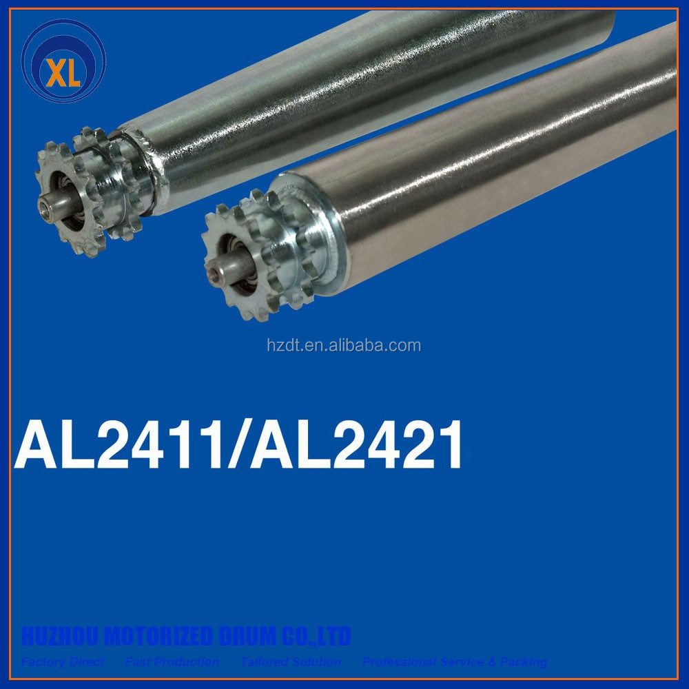 AL2411/2421 factory supply fast production tapered conveyor roller with single steel sprocket