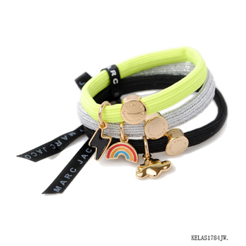 Elastic hair tie with metal charms