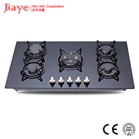 Tempered glass Surface Material and SGS, ISO9001,CE,ISO9001; SGS Certification 5 burner gas cooker JY-G5017