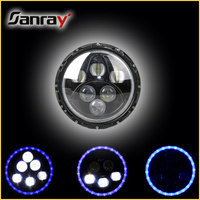 60W 4D Optic Jeep LED Headlight High-low Beam with Angel Eye 7 Inch LED Headlight for Jeep Wrangler Headlight