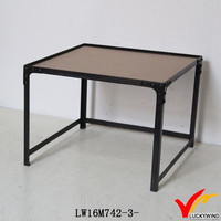 Square Industrial Style Metal Reproduction Antique Coffee Tables