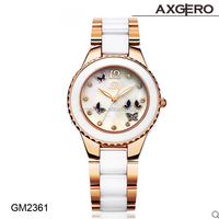 New design elegant vogue ceramic lady watch quartz movt hand women watch with diamonds