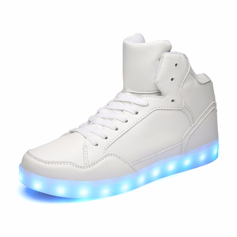 Wholesale New design Casual shoes men Pu leather light shoes Street dance luminous high top LED shoes sneakers for men women