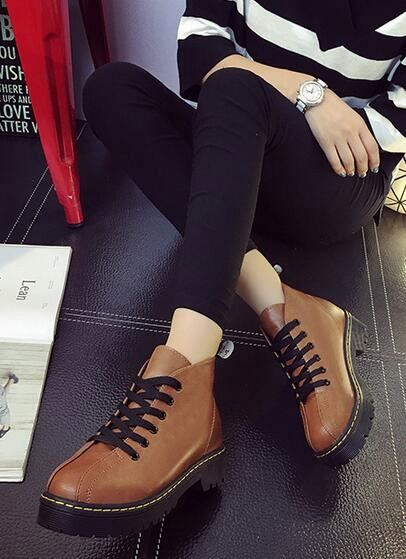Hot selling Fashion Women pu shoes Boots lady Vintage lace up low high Ankle boot
