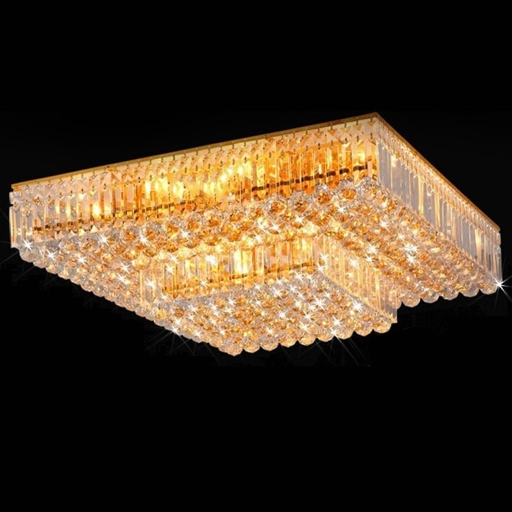 Odeon rectangular ceiling light clear crystal lamps for home decor