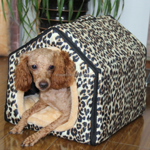 Factory direct modern design leopard triangle shaped house pet carrier large dog house