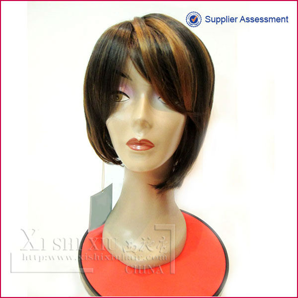Hot seller short synthetic mixed color grey hair lace wigs