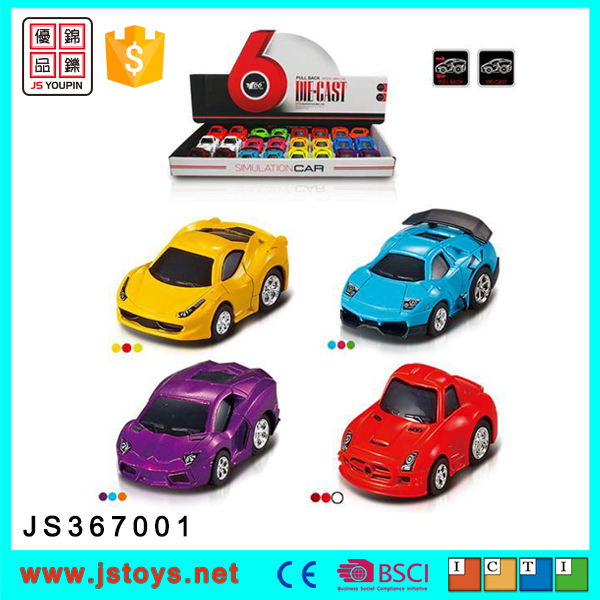 Colorful 1:72 pull back diecast model car for kids