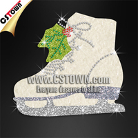 Shining crystal ice skating shoe free sport iron on transfers