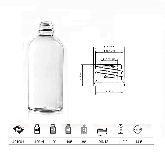 100ml Clear Essential Oil Glass Dropper bottle