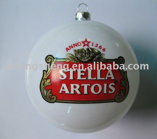 white pearl plastic Xmas ball with metal cap