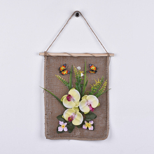 Taoye Plastic Yellow Orchid Fabric Butterfly Pictures Hanging Wall Art Vintage Flower Painting For Home Decoration
